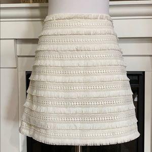 J. Crew Ivory Fringe Lace Mini Skirt